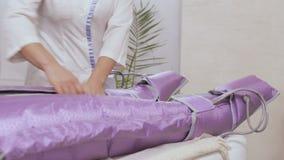 Beautician kontrola procedura pressotherapy zbiory