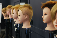 Beautician model heads for practicing in beauty school Royalty Free Stock Photos