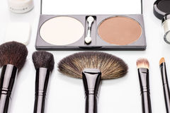 Beautician set of brushes and powder Stock Image
