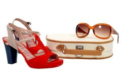 Beautician, shoes and sun glasses Royalty Free Stock Image