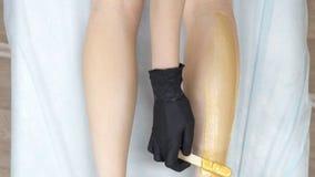 Beautician stosuje wosk na kobiet nogach dla włosianego usunięcia zbiory wideo