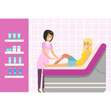 Beautician waxing woman leg at spa or beauty salon. Colorful cartoon character vector Illustration Royalty Free Stock Images