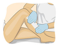 Beautician waxing a woman's leg applying strip of material over the hot wax to remove the hairs when pulled stock illustration