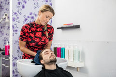 Beautician Wiping Male Customer's Hair In Salon Royalty Free Stock Photos