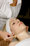 Beautician at work. Beautician giving a young woman a facial treatment Stock Images