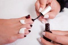 Beautician working on toenails Stock Photos