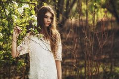 Beautidul brunette woman walking outdoors Royalty Free Stock Photo
