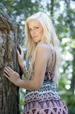 Beautidul Model In A Forest Royalty Free Stock Photography