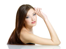 beautidul piękna włosy tęsk kobieta Zdjęcia Royalty Free