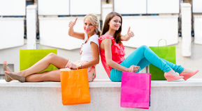Beauties in City Shopping Stock Images