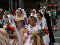 Beauties Parade in the Street during the annual Celebration of Las Fallas, Valencia, Spain Royalty Free Stock Photography