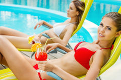 Beauties by the poolside. Royalty Free Stock Photography
