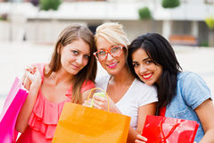 Beauties After Shopping Stock Photo