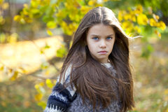 Beautifal little girl in the autumn park Stock Image