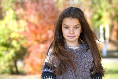Beautifal little girl in the autumn park Stock Photography