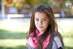 Beautifal little girl in the autumn park Royalty Free Stock Image
