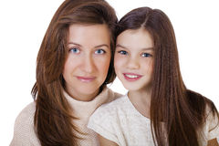 Beautifal little girl and happy mother Stock Images