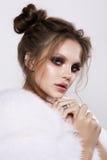 Beautifful european brunet woomen with gloss clean healfy skin Stock Images
