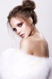 Beautifful european brunet woomen with gloss clean healfy skin Royalty Free Stock Photography
