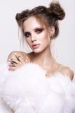 Beautifful european brunet woomen with gloss clean healfy skin Royalty Free Stock Photos
