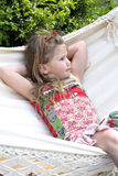 Beautifil blond child in hammock Stock Photo