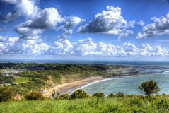 Beautifil IOW at Whitecliff Bay Isle of Wight near Bembridge east of the island in vivid and bright HDR Royalty Free Stock Photo