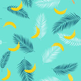 Beautifil Summer Seamless Pattern Background with Palm Tree Leaf Silhouette, Banana and Ice Cream. Vector Illustration. EPS10 stock illustration