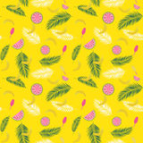 Beautifil Summer Seamless Pattern Background with Palm Tree Leaf Silhouette, Watermelon, Banana and Ice Cream. Vector. Illustration EPS10 vector illustration