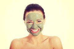 Beautifu有面部面具的toplessl妇女 库存图片