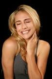 Beautifu blonde Frau im Glück Lizenzfreies Stockfoto