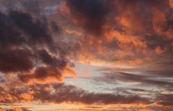 A fragment of the sky in gold and purple tones with clouds at sunset. Beautifu bright fragment of the sky in gold and purple tones with clouds at sunset Stock Images