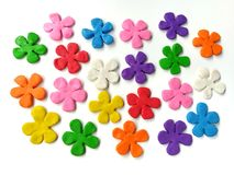 Beautifu colorfull flowers plasticine clay, multicolored floral dough, kg. Beautiful flowers made from colorful plasticine clay on white background, cute Royalty Free Stock Photos