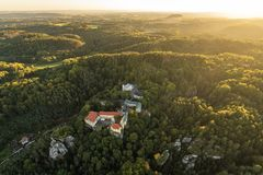 Beautifu czech autumn landscape on aerial photography royalty free stock photo