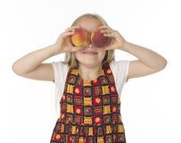 Beautifu girl with peaches Stock Photo