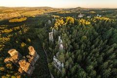 Beautifu jesieni czeski krajobraz na powietrznej fotografii fotografia stock
