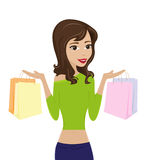 Beautifu kobieta Z torba na zakupy Obraz Royalty Free