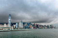 Beautifu lHong Kong skyline. The towering modern skyscrapers on the streets of Hong Kong Stock Photo