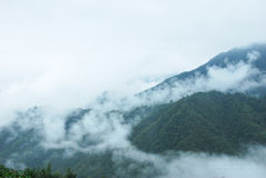 The beautifu mountains in the fog Royalty Free Stock Image