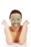 Beautifu toplessl woman with facial mask. Stock Photos