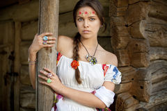 Beautifu ukrainian girl in traditional dress Stock Photos