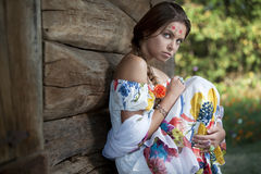 Beautifu ukrainian girl in traditional dress Stock Images