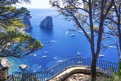 Beautifu view of Capri island from luxury terrace royalty free stock image