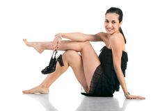 Beautifu woman with shoes on white Royalty Free Stock Photos