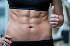 Beautifu Woman Showing Thumbs Up And Her Ab Royalty Free Stock Photos