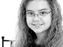 Beautiful 12 Year Old Girl Writing In Black and White Royalty Free Stock Photo