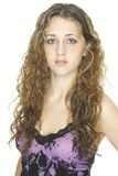 Beautiful 2. A beautiful young female model in a purple and black lace top Stock Photos