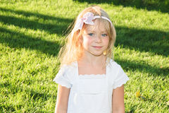 Beautiful 6 years old girl  on summer meadow Stock Photos
