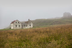 Beautiful abadoned house in the fog. In Iceland, Europe Royalty Free Stock Photography
