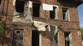 The beautiful abandoned building on the suburb of the city stock video footage