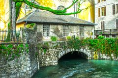 Center of Annecy in January! royalty free stock image